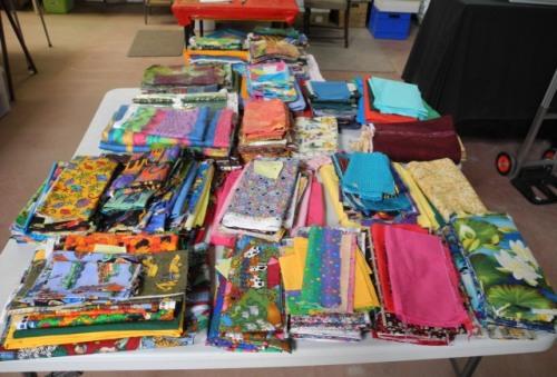 Fabrics in quilt piles
